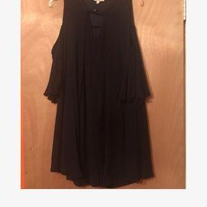 Umgee Cold Shoulder Black Dress